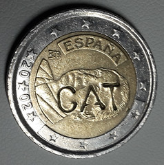Spain 2 Euro Coin With C A T Mark