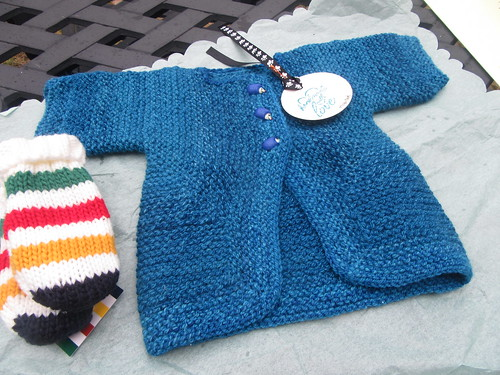 Handspun handknit Baby Surprise Jacket in Blue Faced Leicester yarn by irieknit