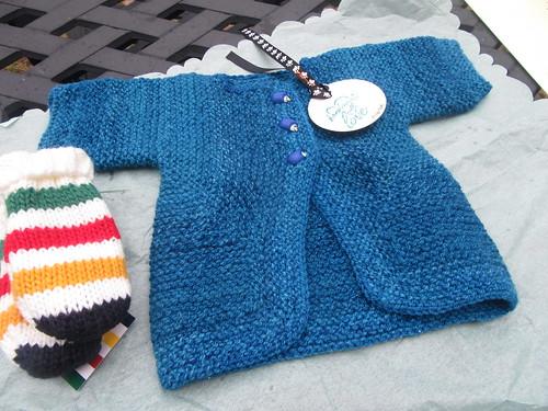 Handspun handknit Baby Surprise Jacket in Blue Faced Leicester yarn by irieknit