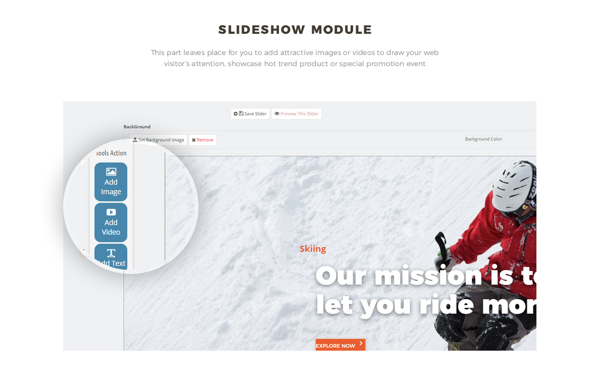 Slide show module - Bos Voyage - Furniture and Home Decor Prestashop theme