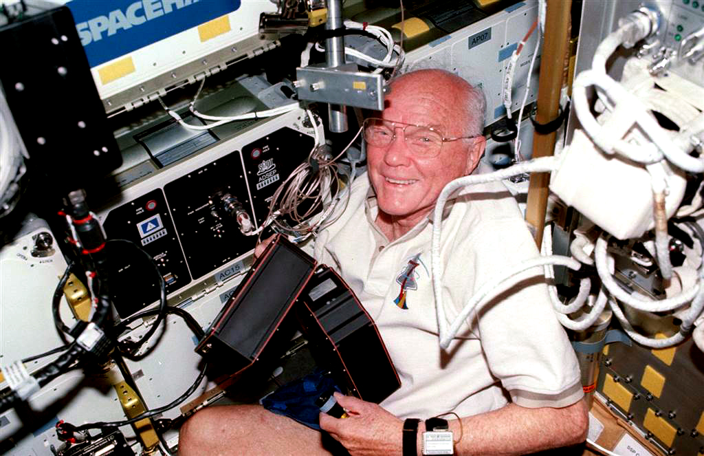 Senator-astronaut John Glenn on the shuttle Discovery. Photo taken on October 29, 1998.