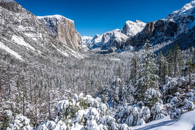 Yosemite Tunnel View El Capitan Bridalveil Falls Half Dome Blue Sky Snow Fine Art Winter Photography! Sony A7R III & FE 16–35 mm G Master Wide-Angle Zoom Lens SEL1635GM Winter Snow Fine Art!  Yosemite National Park Winter Snow California Landscape Photos!