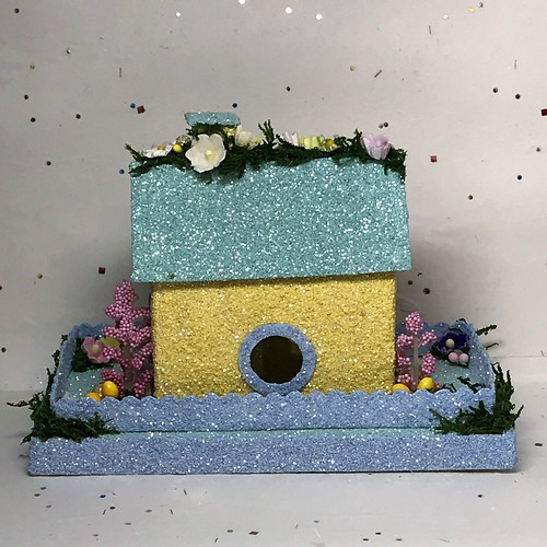 Mini Yellow and Light Teal Spring Putz House