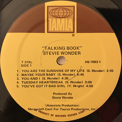 STEVIE WONDER:TALKING BOOK(LABEL SIDE-A)