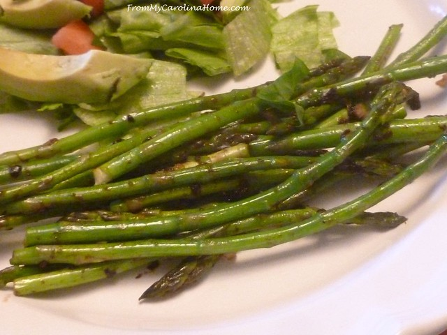 Asparagus with Roasted Garlic at FromMyCarolinaHome.com