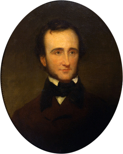 Portrait of Edgar Allan Poe by Samuel Stillman Osgood, oil on canvas (1845). This portrait, a gift to the New-York Historical Society from Poe's literary executor, was painted from life in 1845, the year Poe wrote