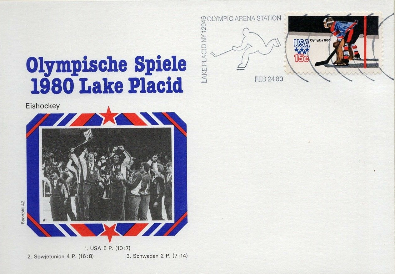 Cover bearing United States Scott #1798 portraying an ice hockey goalie, issued on February 1, 1980, and postmarked at the postal sub-station outside of the Lake Placid Olympic Arena the day that the U.S. team beat the Soviet Union in the Miracle on Ice.