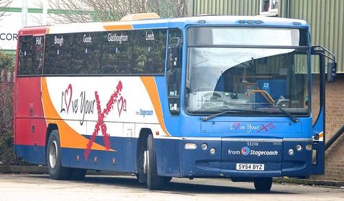 SV54 BYZ 'Stagecoach East Midland' No. 53208 'Love your X'. Volvo B7R / Plaxton Prima on Dennis Basford's railsroadsrunways.blogspot.co.uk'