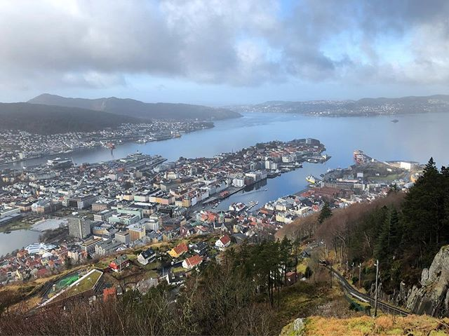 Bergen from above (although here was busy as the popular funicular ran to here)