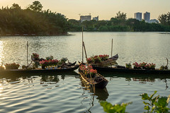 Boats with Flowers on a Lake in Saigon with Sunset in the Background