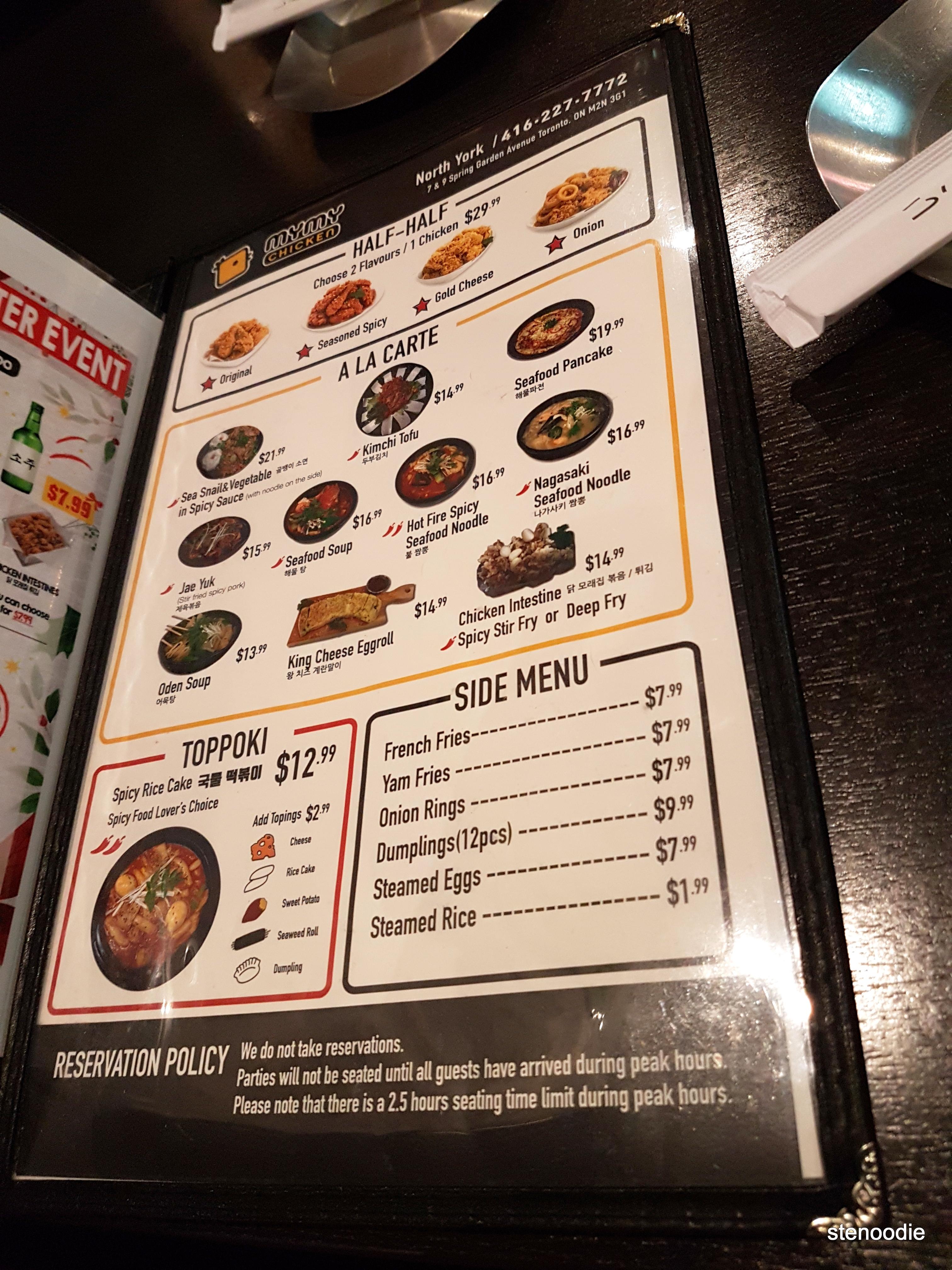 MyMy Chicken menu and prices