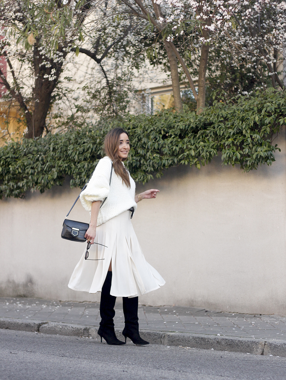 pink pale midi skirt white sweater black boots givenchy bag street style outfit 201910