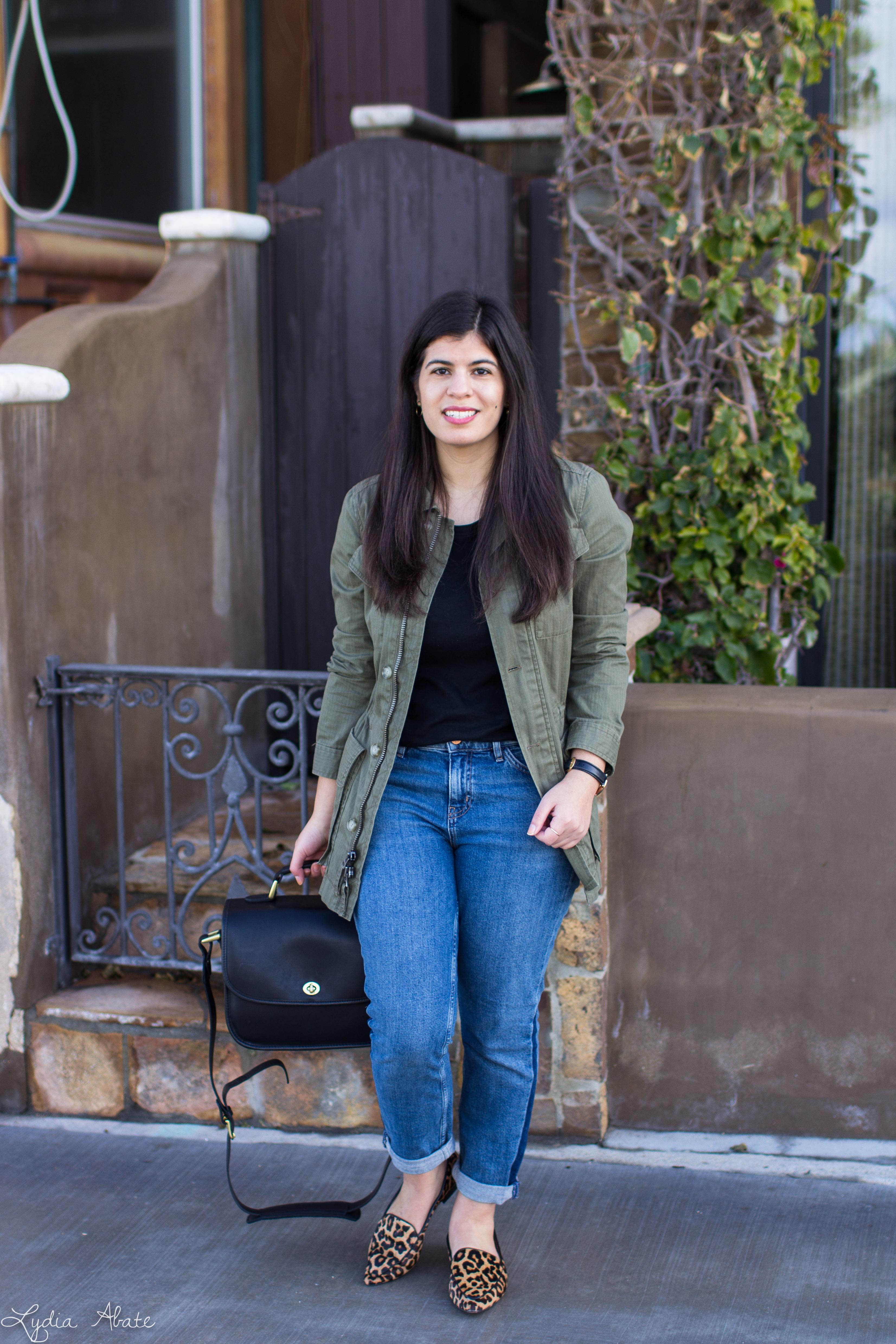 field jacket, boyfirend jeans, ONA palma bag, leopard loafers-7.jpg