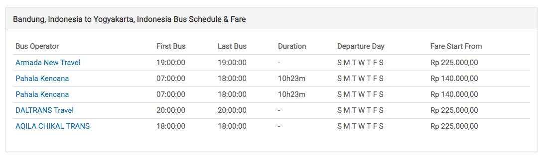 Bus Bandung to Yogya easybook.com