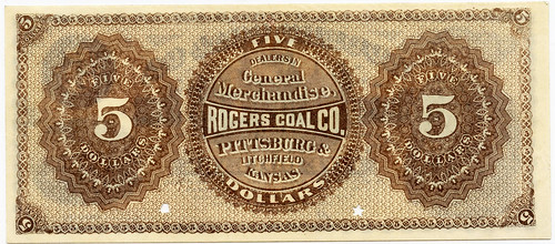 Rogers Coal Company $5 note back