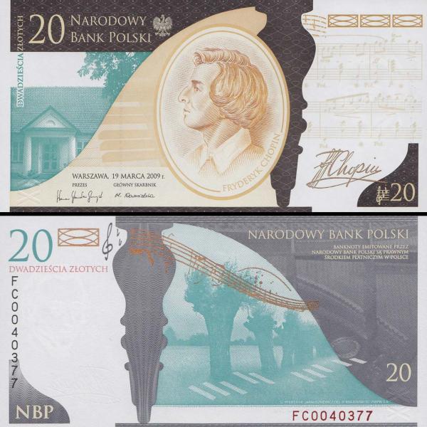 20 Zlotych Poľsko 2009, Fryderyk Chopin P181 UNC v obale