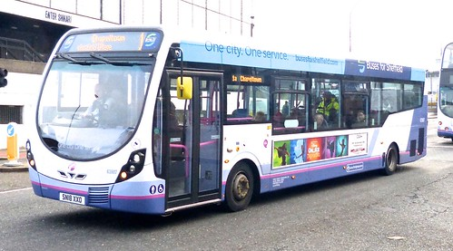 SN18 XXO 'First South Yorkshire' No. 63907. 'Buses for Sheffield'. Wright Streetlite D/F on Dennis Basford's railsroadsrunways.blogspot.co.uk'