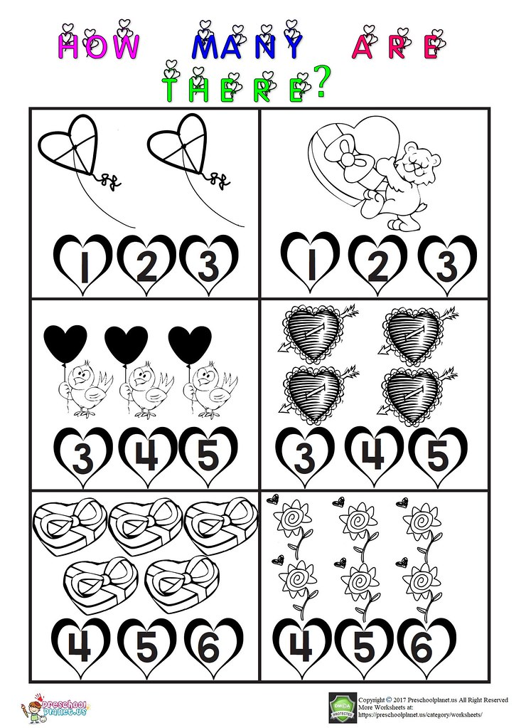 Valentine Day Worksheet Valentine 8217 S Day Counting Wor