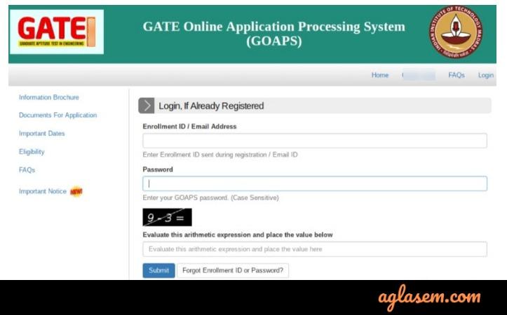 GATE Login