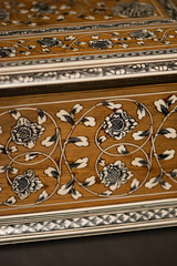 Fancy marquetry on antique table