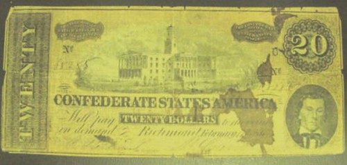 Blood-stained Confederate note