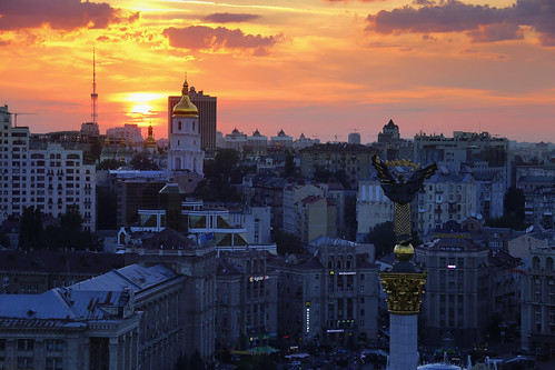 Beautiful Saint Sophia Cathedral in Kyiv at Sunset