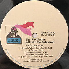 GIL SCOTT-HERON:THE REVOLUTON WILL NOT BE TELEVISED(LABEL SIDE-B)
