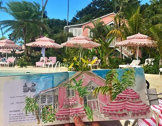 My pink, white and blue view from my sun bed. Coming to the end of a gorgeous week @cobblerscovehotel #urbansketching #urbansketch #barbados #cobblerscove #eyeshootflickr #moleskine #moleskinewatercolor