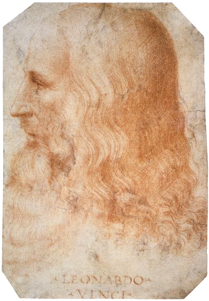 Portrait of Leonardo da Vinci by Francesco Melzo -- red chalk on paper, after 1510.