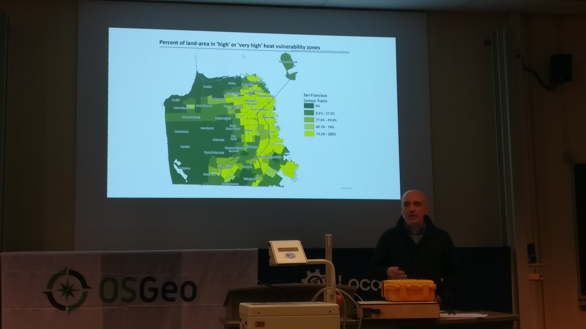 FOSDEM 2019 - Stefano Maffulli presenting his OSM based project for emergency preparation
