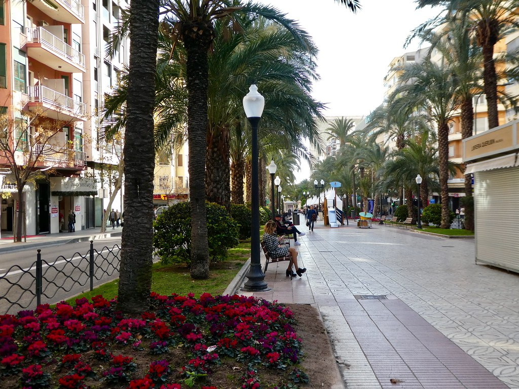 The avenue leading from Plaza de los Luceros to Alicante's seafront
