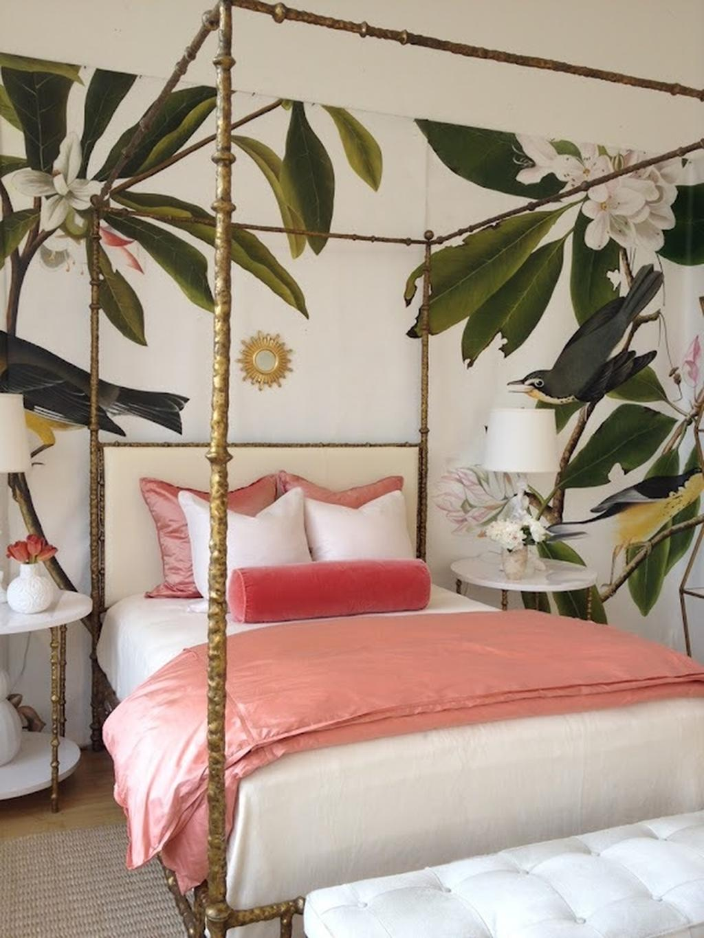 Leaf Mural Botanical Bedroom Wallpaper How to Decorate with Living Coral Pantone's Color of the Year
