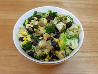 Black Beans Stir-Fried with Broccoli, Corn, and Cilantro
