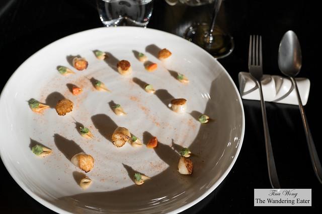 Seared scallops, licorice cream