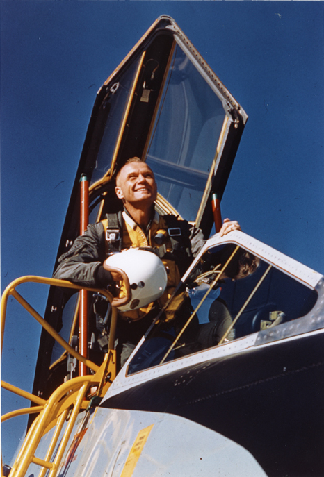 John Glenn sitting in the cockpit of a jet aircraft at the U.S. Navy Test Station at Patuxent River, Maryland, 1954.