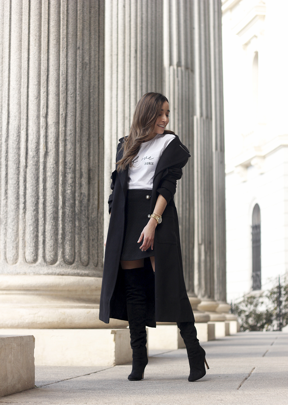 tweed skirt over the knee boots black trench coat street style outfit 201916