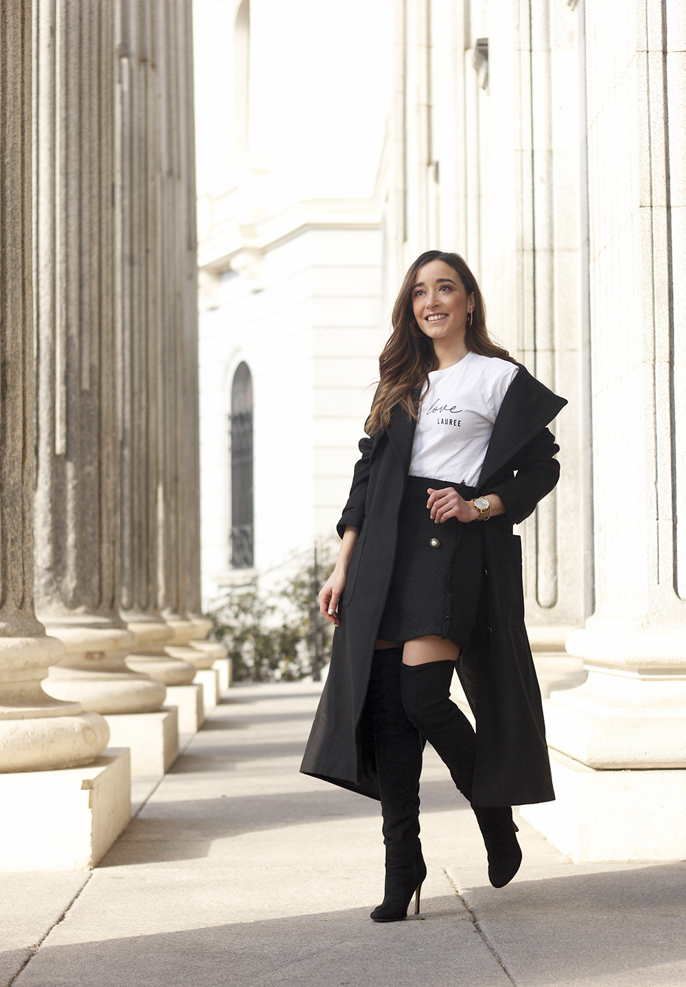 tweed skirt over the knee boots black trench coat street style outfit 20196