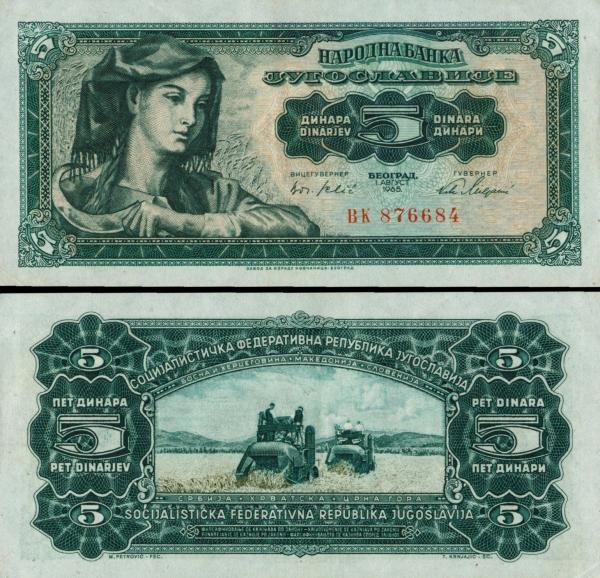 5 juhoslávskych dinárov Juhoslávia 1965, P77