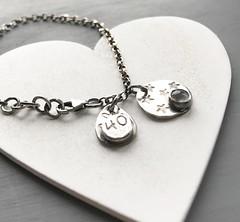 Oxidised silver charm bracelet