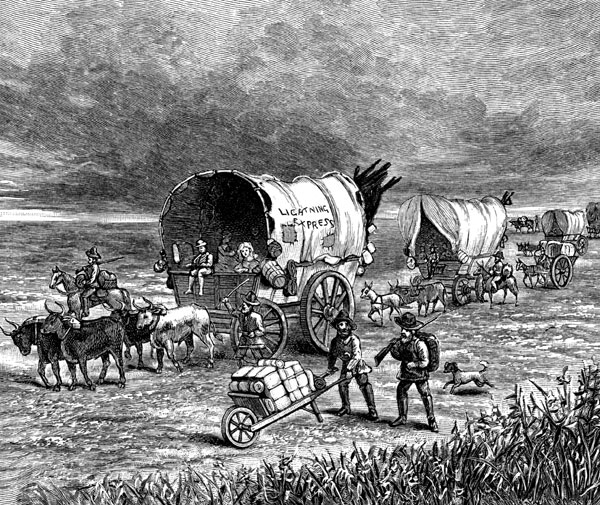Wagon train headed for California during the Gold Rush.