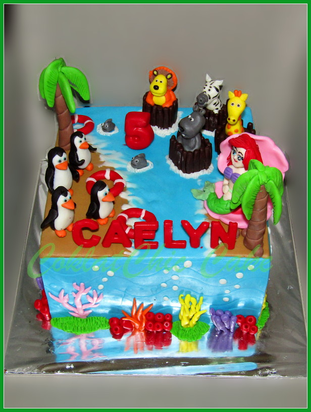 Cake Madagascar + ariel little mermaid CAELYN 20 cm