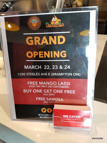 Hurry Curry and Tacorrito grand opening Brampton