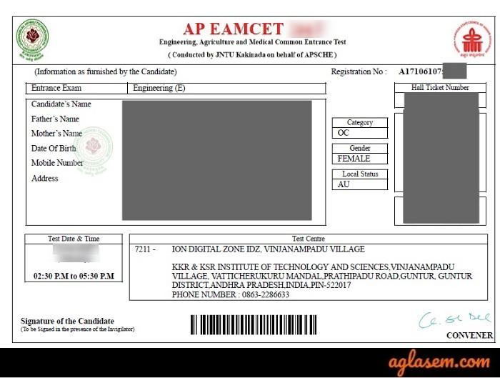 AP EAMCET admit card sample
