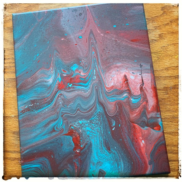 Acrylic Paint Pour. Flip Cup with Swipe.