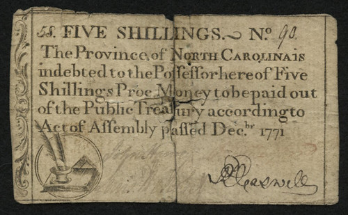 1771-Five-Shilling-North-Carolina-Colonial-Currency-Note
