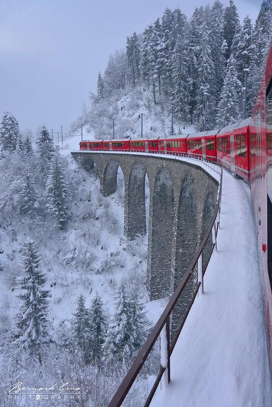 Viaduc de Schmittentobel,  Bernina Express, Glacier Express par  Bernard Grua - Rhätische Bahn, Chemins de fer rhétiques