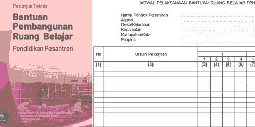 Format Blangko Jadwal Pelaksanaan Bantuan Ruang Belajar Pendidikan Pesantren