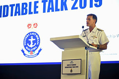 Adm. John Aquilino delivers remarks during the Chief of Navies' Roundtable Talks at the Langkawi International Maritime and Aerospace Exhibition. (U.S. Navy/MC1 Leonard Adams)