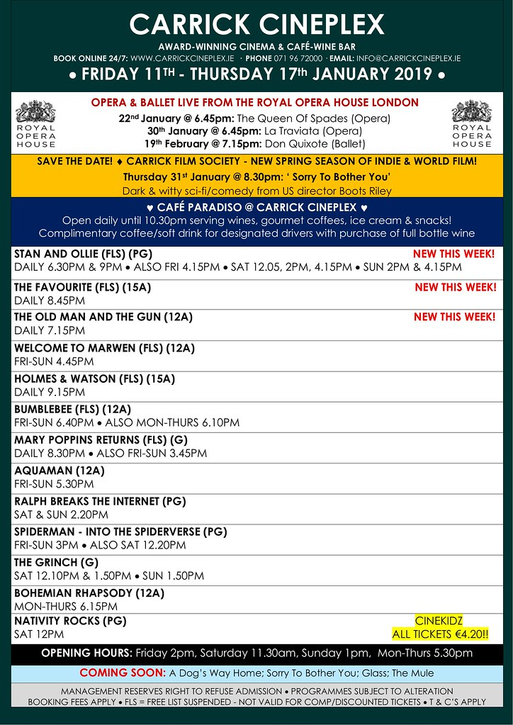 Friday 11th - Thursday 17th Jan  2018_Full Timetable