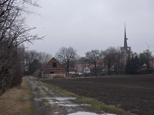 20110318 0205 300 Jakobus Weg Feld Bäume Regenpfützen Ortschaft